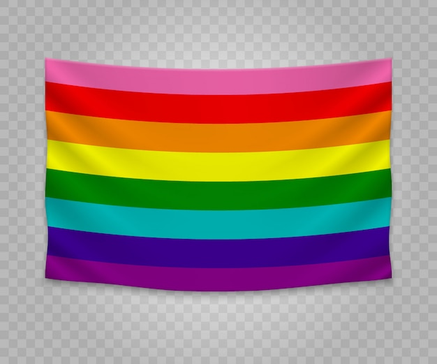 Realistic hanging flag of gay