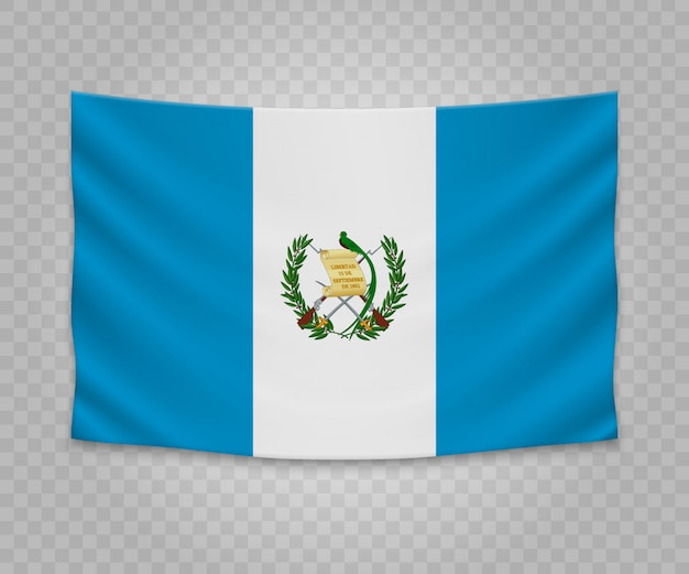 Realistic hanging flag of guatemala