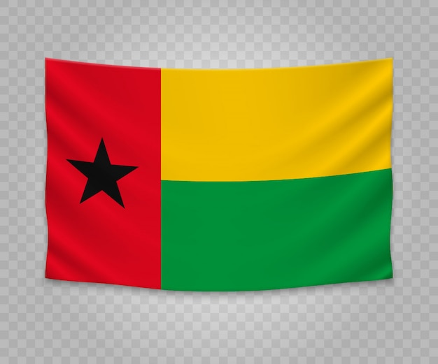Realistic hanging flag of guinea-bissau