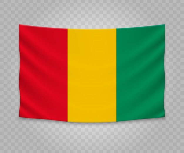 Realistic hanging flag of guinea