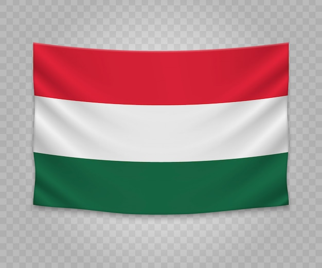 Realistic hanging flag of hungary