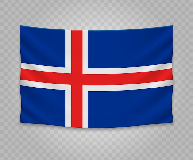 Realistic hanging flag of iceland