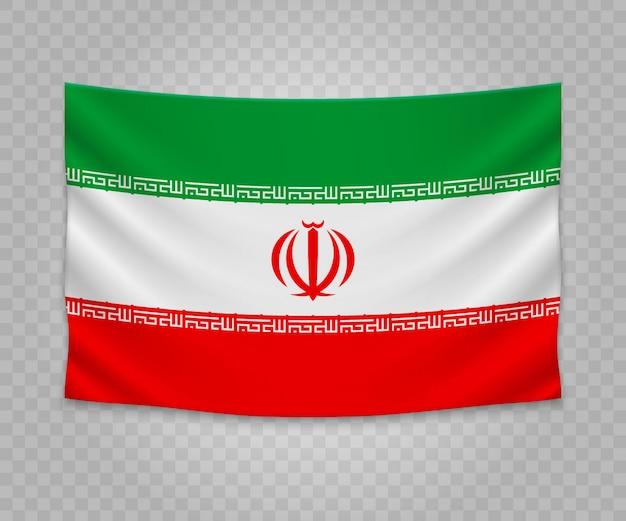 Realistic hanging flag of iran