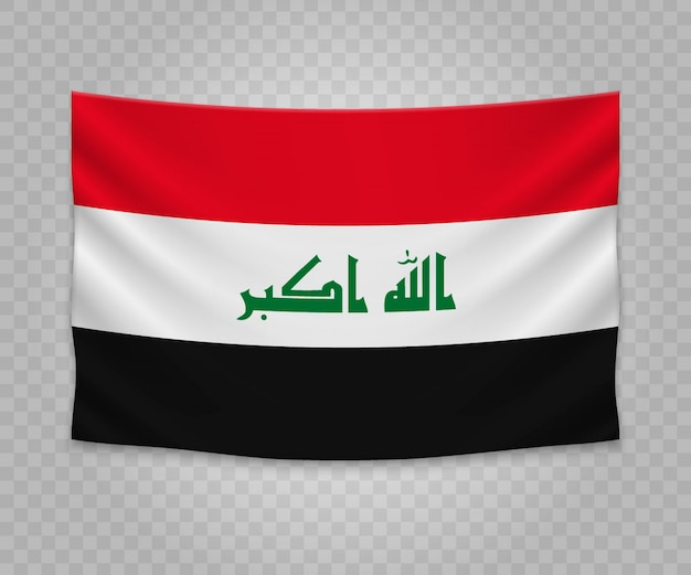 Realistic hanging flag of iraq