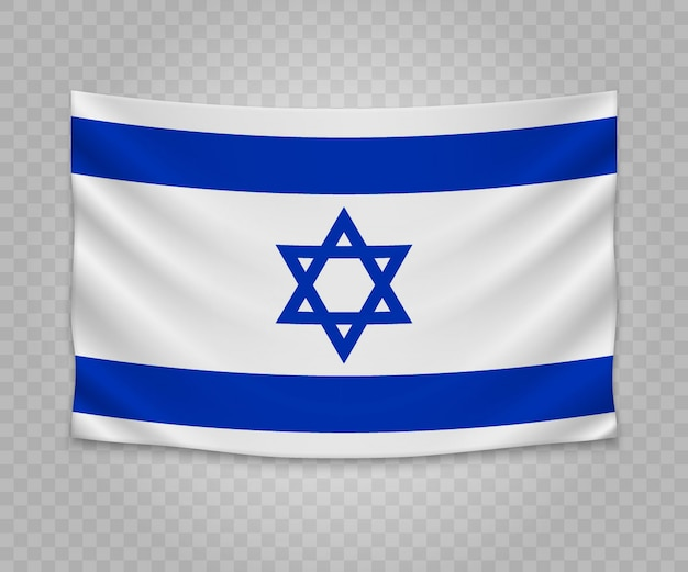 Realistic hanging flag of israel
