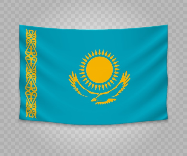 Realistic hanging flag of kazakhstan