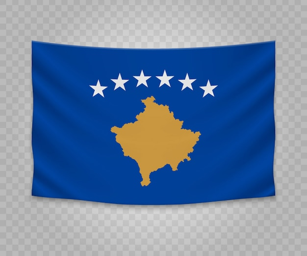 Realistic hanging flag of kosovo