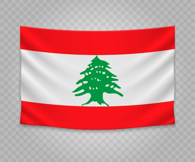 Realistic hanging flag of lebanon