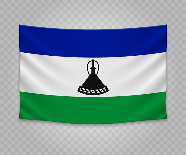 Realistic hanging flag of lesotho