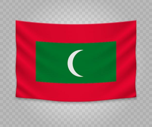 Realistic hanging flag of maldives