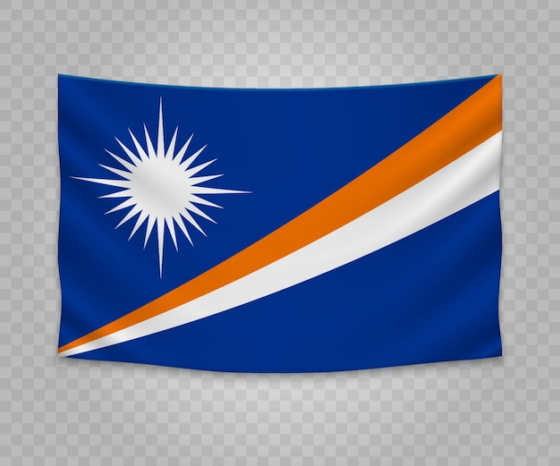 Realistic hanging flag of marshall islands