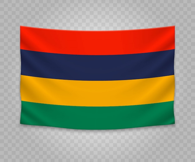 Realistic hanging flag of mauritius