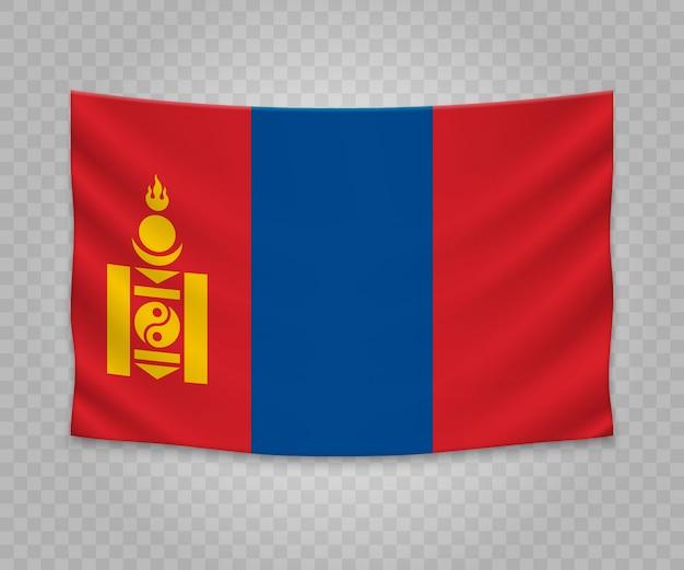 Realistic hanging flag of mongolia
