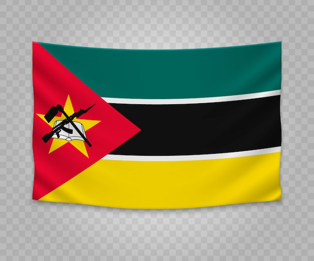 Realistic hanging flag of mozambique