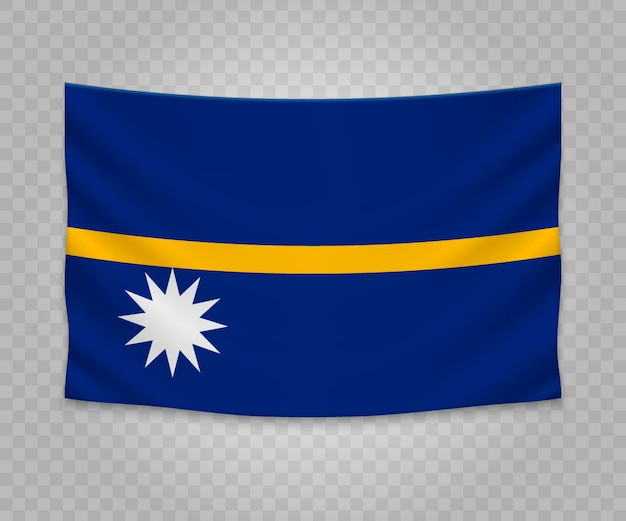 Realistic hanging flag of nauru