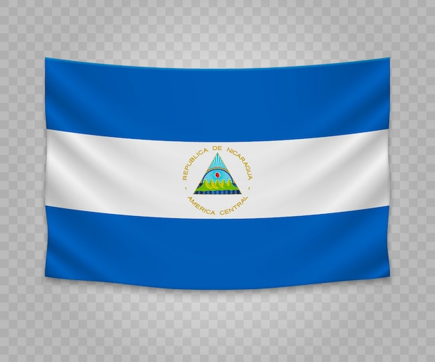 Realistic hanging flag of nicaragua