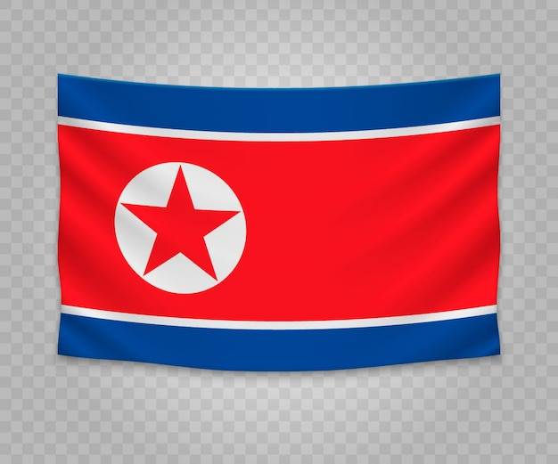 Realistic hanging flag of north korea