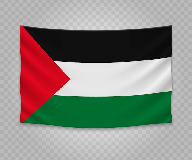 Realistic hanging flag of palestine