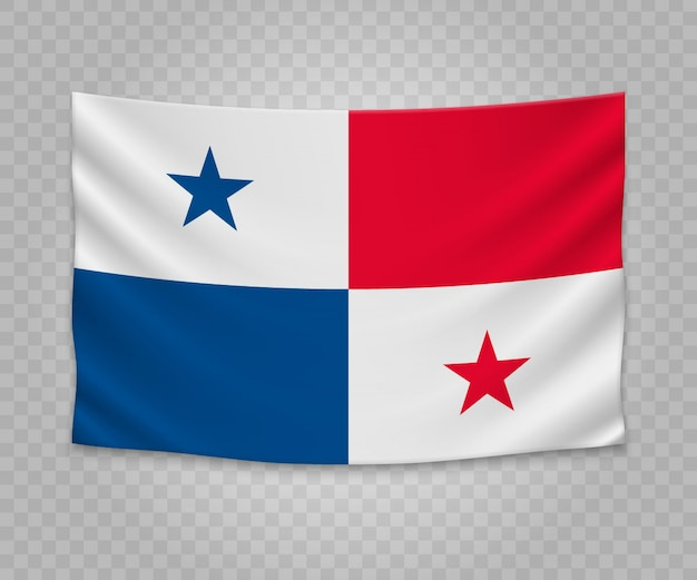 Realistic hanging flag of panama