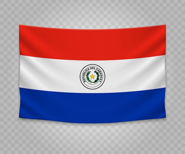 Realistic hanging flag of paraguay