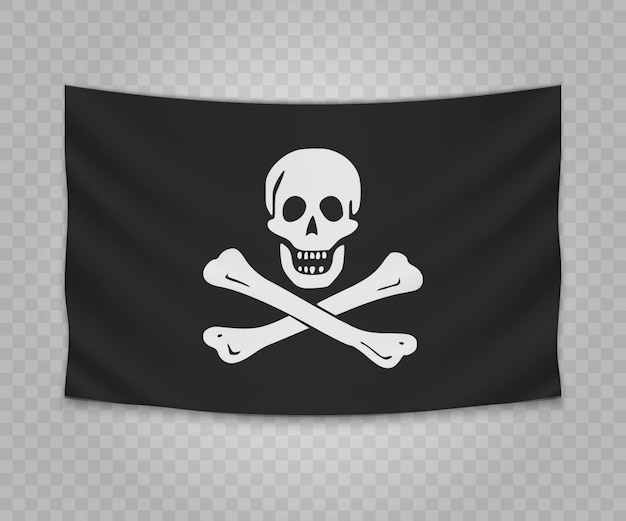 Realistic hanging flag of pirate jolly roger