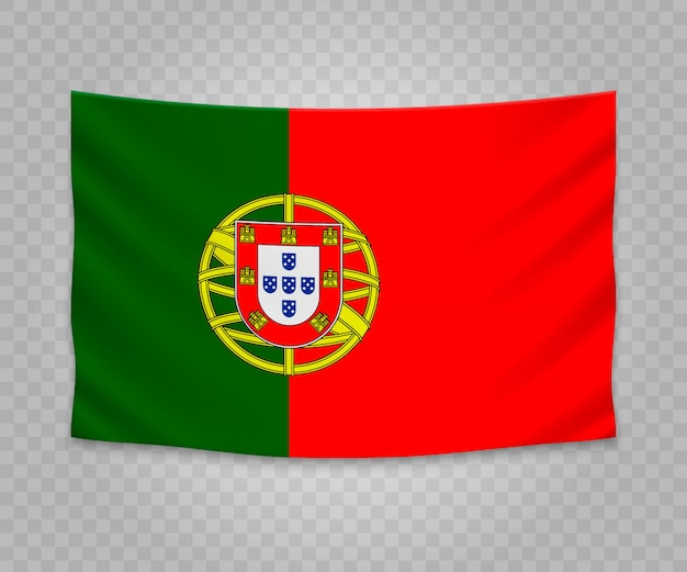 Realistic hanging flag of portugal