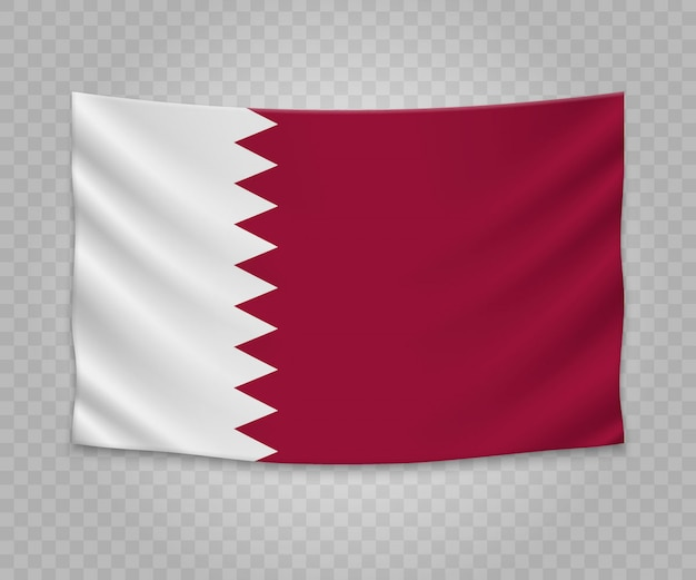 Realistic hanging flag of qatar