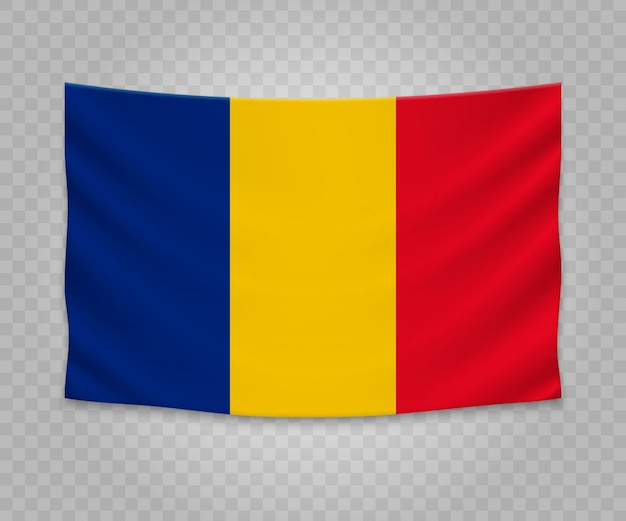 Realistic hanging flag of romania
