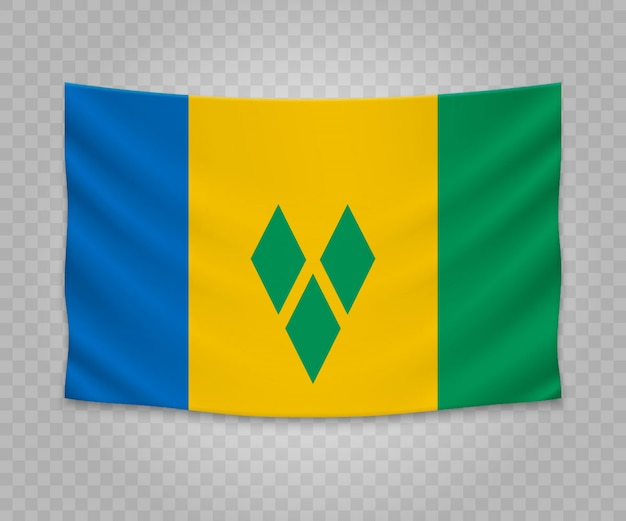 Realistic hanging flag of saint vincent and the grenadines