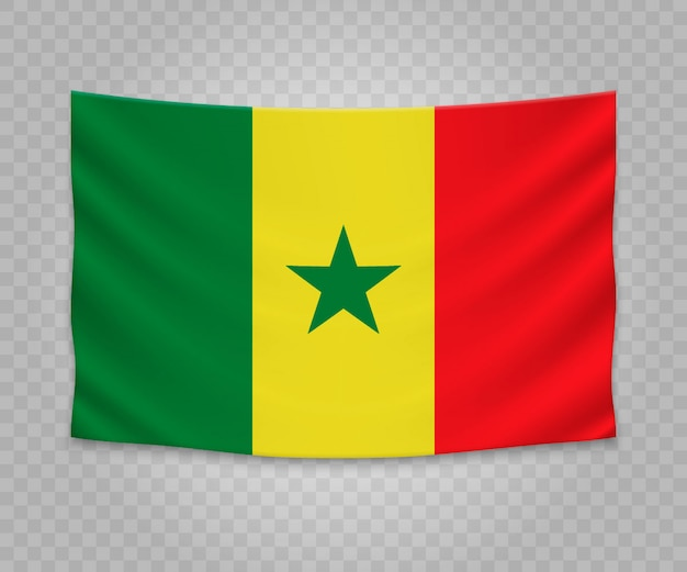 Realistic hanging flag of senegal
