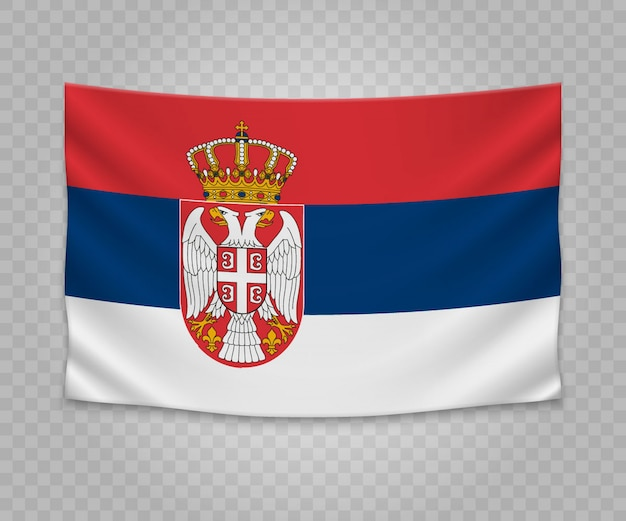 Realistic hanging flag of serbia