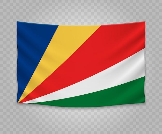 Realistic hanging flag of seychelles