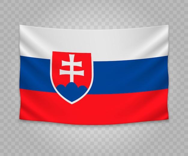 Realistic hanging flag of slovakia