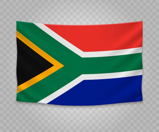 Realistic hanging flag of south africa