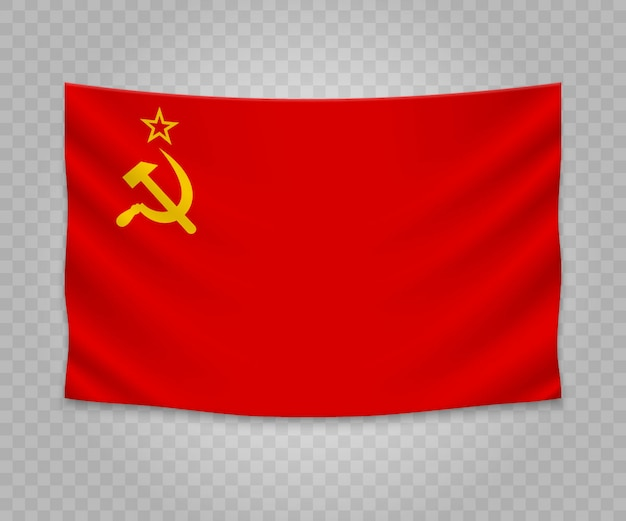 Realistic hanging flag of soviet union