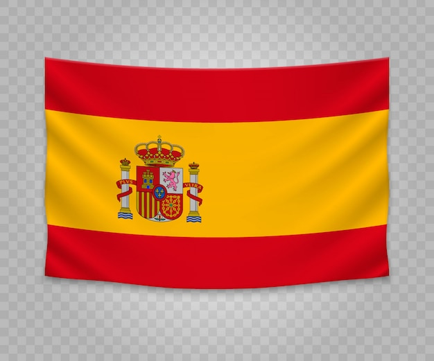 Realistic hanging flag of spain