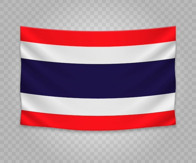 Realistic hanging flag of thailand