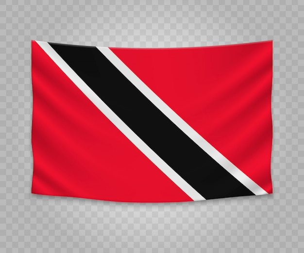 Realistic hanging flag of trinidad and tobago
