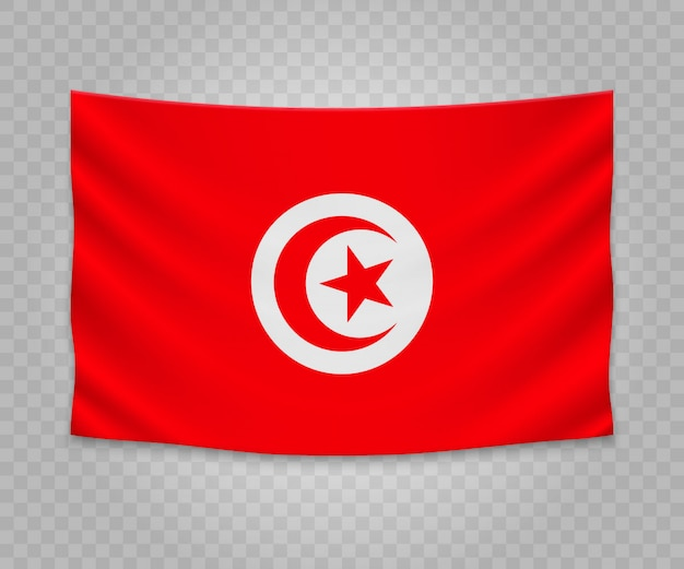 Realistic hanging flag of tunisia