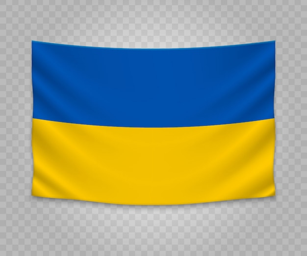Realistic hanging flag of ukraine