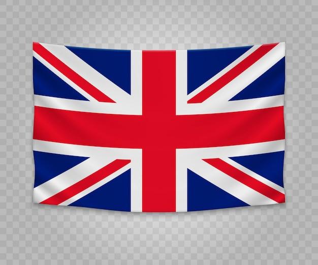 Realistic hanging flag of united kingdom