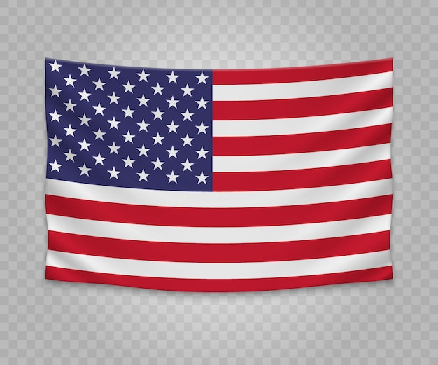 Realistic hanging flag of united states