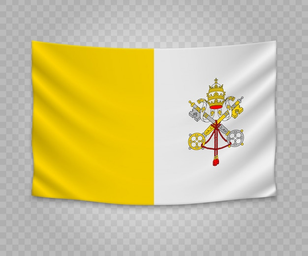 Realistic hanging flag of vatican