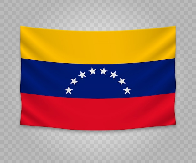 Realistic hanging flag of venezuela