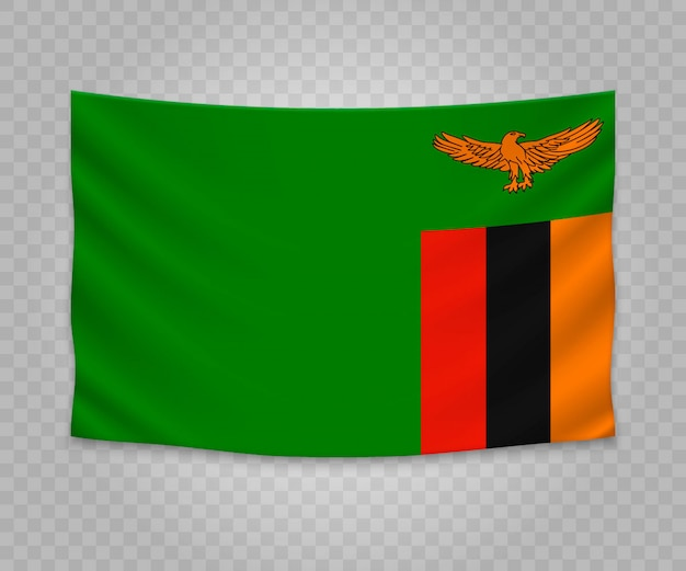 Realistic hanging flag of zambia