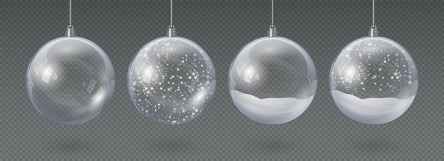 Realistic hanging glass christmas balls empty and with snow. 3d xmas tree decoration, transparent crystal sphere with snowflakes vector set. xmas holiday celebration decor, bubble with falling snow
