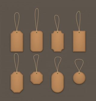 Realistic hanging leather labels