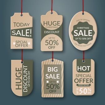 Realistic hanging sales label collection