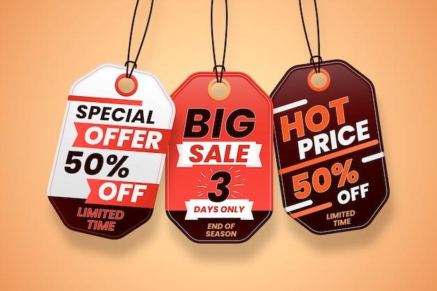 Realistic hanging sales label set