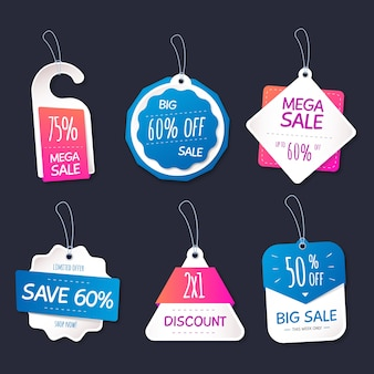 Realistic hanging sales labels